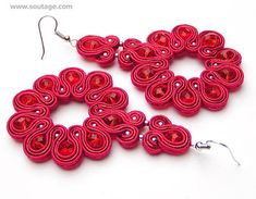 Ruby Irys - light earrings shine like a sappihre noble stone in a shape of blooming irys flower. This jewelry looks stunning with wedding dress or little black dress or lace lingerie. Using materials: metal beads, soutache, viscose, Swarovski crystals. Length of earring: 7 cm. Width of