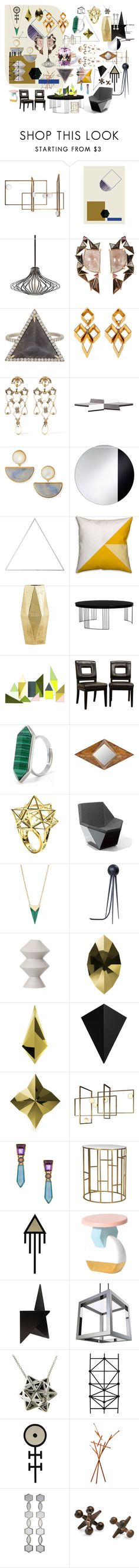 """""""Geometry"""" by sarahhughes-net ❤ liked on Polyvore featuring ferm LIVING, Kichler, Nak Armstrong, Monique Péan, Erickson Beamon, Lizzie Fortunato, Menu, House Doctor, Safavieh and Baxton Studio"""