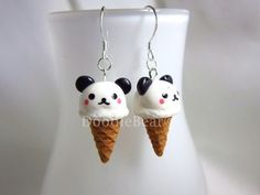 Panda Ice Cream Kawaii Earrings by DoodieBear on Etsy, $13.00