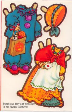 """Halloween Paper Doll card for GRANDDAUGHTER """"Forget Me Not"""" from American Greetings # 100H 2408-1F"""