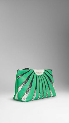 Aqua green/black Book Cover Print Leather Pouch - Image 3