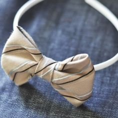 Make two new bows with minimal sewing out of one old repurposed tie. So cute on a headband!