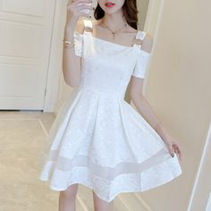 Champagne Fashion Student Dresses Summer New arrival Stretch Tape Little Fancy Shirt Skirt Elegant Dresses, Pretty Dresses, Beautiful Dresses, Kawaii Fashion, Girl Fashion, Fashion Dresses, Korea Dress, Ulzzang Fashion, Girl Outfits