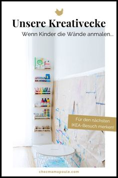 Creative corner and painting wall for several children: painting in the children's room (yes, these are IKEA spices . Painting Corner, Painting For Kids, Children Painting, Parents Room, Kids Room, Junior Bed, Painting Accessories, Toddler Rooms, Room Ideas Bedroom