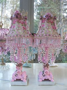 Pair of Jeweled Pink Roses Accent Boudoir Lamps by sheriscrystals