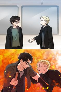 When harry finally reaches for Draco's hand Draco Harry Potter, Magie Harry Potter, Harry Potter Comics, Harry Potter Artwork, Harry Potter Feels, Harry Potter Drawings, Harry Potter Ships, Harry Potter Pictures, Harry Potter Universal