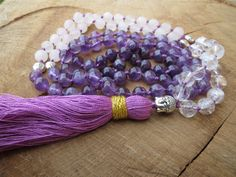 Check out this item in my Etsy shop https://www.etsy.com/listing/231860263/108-mala-necklace-amethyst-rose-quartz