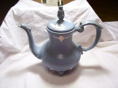 Vintage? Handcrafted Decorative Blue & White Painted Ceramic Pitcher With Lid $2.99