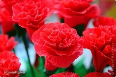 carnations--pictorial w/ two options for attaching flower to stem and suggestions for streamlining when you want to make a lot of flowers.