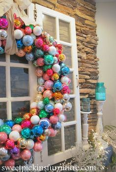 DIY Wreath made with Pool Noodles for Christmas! pool diy {Christmas 2012 Mantle} – with ornament wreath tutorial Winter Christmas, All Things Christmas, Christmas Holidays, Christmas Wreaths, Christmas Ornaments, Christmas Door, Ball Ornaments, Diy Wreath, Ornament Wreath