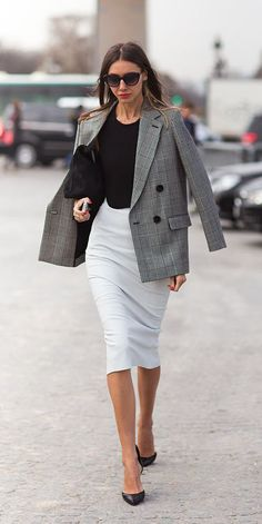 Create a powerful femme look with a pencil skirt and structured blazer. Click to see more blazers.