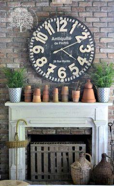 oversized clock |  mantel - vignette for potting shed