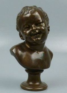 Grand Tour 19th Century Bronze Bust Laughing Child After Jean-Antoine Houdon BR