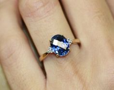 simple oval sapphire engagement rings and gold wedding band - Google Search