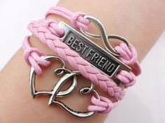 Best-friend, Infinity Heart2Heart Silver Pink rope & Pink Braided #B00022