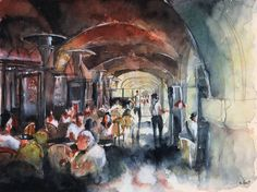 Signed print  watercolor painting  Place des by NicolasJolly, €20.00