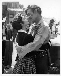 Ava Gardner and Clark Gable in romantic embrace in a scene from the film Lone Star (1952).