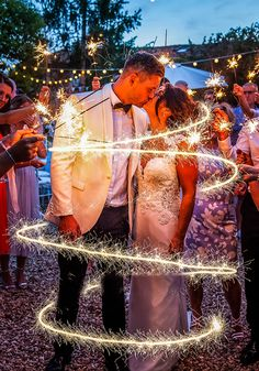 Surrounded by sparklers, Kylie and David had the SWEETEST couple's photograph ideas at their wedding. This Dreamy France Destination Wedding Is Fit For A Fairytale - see all the photos from this couple's big day abroad on Wedding Ideas!
