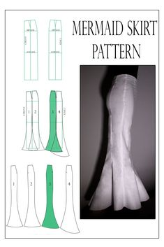 The mermaid skirt pattern consists of panels and you can shape the tail by modif. - The mermaid skirt pattern consists of panels and you can shape the tail by modifying the seamlines. Tunic Dress Patterns, Formal Dress Patterns, Pillowcase Dress Pattern, Evening Dress Patterns, Shirt Dress Pattern, Wedding Dress Patterns, Gown Pattern, Skirt Patterns Sewing, Clothing Patterns
