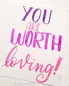 I thought maybe someone needed to hear this today. You are worth loving and you are worthy of love .  .  .  .  .  .  .  #love #worthy #worthyoflove #lettering #handlettering #handmadefont #goodtype #typography #typegang #brushscript #brushlettering #brushcalligraphy #moderncalligraphy #calligraphy #calligrafriends #encouragement #quote #watercolor #watercolorlettering
