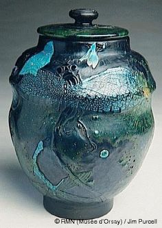 Emile Gallé, Nancy, (1846-1904), Blown, Internal Inclusions, Marquetry Inlays, Applied and Engraved Glass Covered Jar.