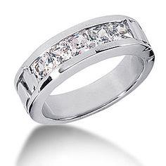 Platinum Diamond Men's Wedding Band 2ct