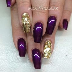 Purple and gold coffin nails. Very regal. #trythisnail