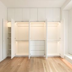 The built-in wardrobe cabinets at our Fifth Avenue Loft Renovation in NYC take advantage of the ceiling height will full height storage, brightened with lighted closet rods and linear LEDs. By Resolution: 4 Architecture. Bedroom Built In Wardrobe, Bedroom Built Ins, Wardrobe Room, Wardrobe Cabinets, Bedroom Closet Design, Master Closet, Wardrobe Door Designs, Closet Designs, Closet Renovation