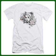 Batman Arkham Knight Harley Quinn RIP Sketch Over Thorns Adult Slim T-Shirt Tee - Superheroes shirts (*Amazon Partner-Link)