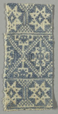 Design of lozenges and eight-pointed stars worked in blue cross-stitch on a white ground. Greek Traditional Dress, Star Work, Blue Cross, Greek Art, Star Patterns, Embroidery Patterns, 19th Century, Bohemian Rug, Applique