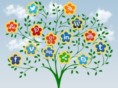 social+icons+flowers | Social Icon Flowering Tree