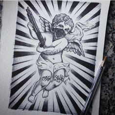Child Angel with gun Tattoo Gangster Tattoos, Dope Tattoos, Body Art Tattoos, Small Tattoos, Tattoo Design Drawings, Tattoo Sleeve Designs, Tattoo Sketches, Chicanas Tattoo, Money Tattoo