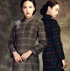 e51f6b8c3c 1925 Shanghai Style Wool Traditional Plaid Cheongsam Dress - Fall   Winter