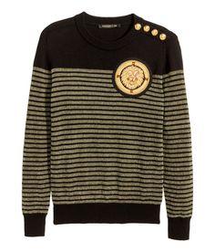 BALMAIN HxM WOOL Knit JUMPER Sweater Chest Applique Crest Olive SMALL MEDIUM