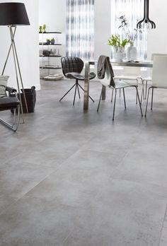 NL Label | Skibby | PVC vloer | Gladde, strakke vloeren zijn de basis voor een Modern & Design interieur Industrial Interior Design, Diy Interior, Living Room Interior, Home Interior Design, Living Room Decor, Grey Floor Tiles, Grey Flooring, Bedroom Flooring, Concrete Look Tile