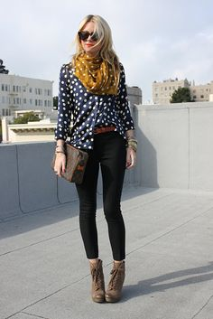 silky polka-dot blouse and contrasting scarf with leggings and booties