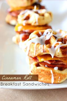 Never saw this one coming...Cinnamon Roll Breakfast Sandwiches...gotta ...