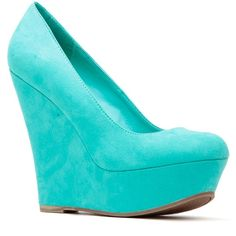CiCiHot Aqua Faux Suede Platform Wedge Pumps ($31) ❤ liked on Polyvore featuring shoes, pumps, heels, wedges, round toe pumps, wedges shoes, rounded toe pumps, wedge heel pumps and platform wedge pumps