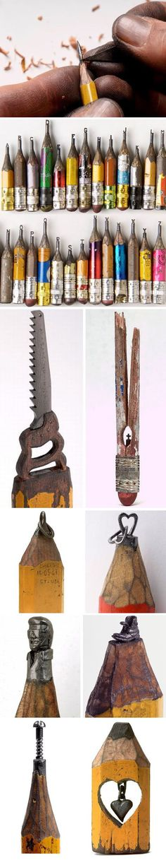 """Incredible Pencil Carvings    Dalton Ghetti began learning how to carve at the age of 6. He now works as a carpenter as well as """"sharpening"""" pencils as a hobby and as a form of meditation."""