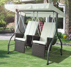2 Seater Rattan Swing Chair Brown Steel Frame Canopy Outdoor Garden Furniture for sale online Canopy Swing, Hammock Swing Chair, Canopy Outdoor, Swinging Chair, Outdoor Chairs, Outdoor Decor, Swing Chairs, Contemporary Outdoor Lounge Chairs, Garden Swing Seat