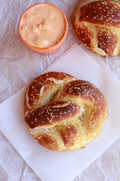 Whip up these homemade Sea Salt Soft Pretzels and Buffalo Cheddar Cheese Sauce for your Super Bowl festivities
