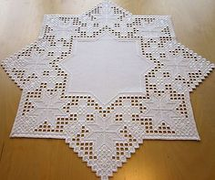 "HARDANGER NEW BEAUTIFUL HANDCRAFTED tabel center psc/ star white 23.5""x23.5"""