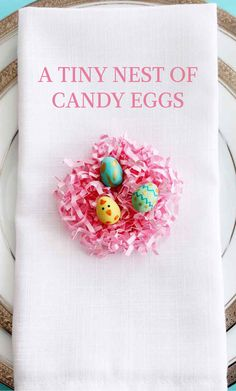 Easter Place Setting Idea: A Tiny Nest of Candy Chicks | Martha Stewart Living - Nestled inside these shredded paper nests is a sweet surprise! Turn Easter candy into baby chicks and decorated eggs.