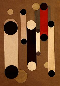 1930 Bouncing Circles. Franciska Clausen (1899-1986) was a Danish painter. She studied with László Moholy-Nagy in Berlin in 1922 and with Fernand Léger in Paris from 1924 to 26. She was the only artist among the early Danish Modernists to enter the inner circle of the international avant-garde, influencing others as they influenced her.