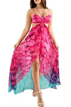 Fuchsia Multi-color Feather Print Maxi Dress ModeShe.com