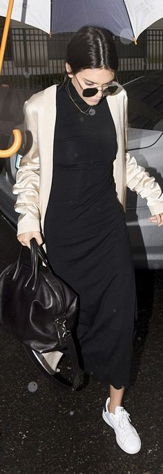 Kendall Jenner: Dress – Sally Lapointe  Purse – Givenchy  Shoes – Adidas Originals  Sunglasses – Ahlem Eyewear