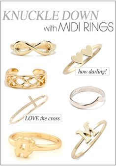 midi rings aka knuckle rings. whatever they are, I love!