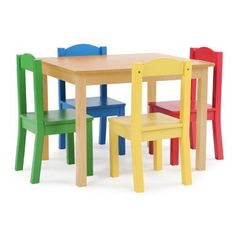 Tot Tutors Kids Plastic Table and 4 Chairs Set, Vibrant Colors Best ...