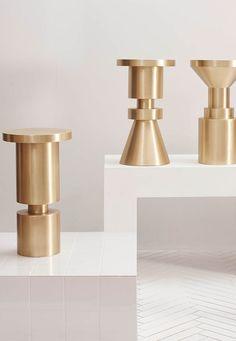 Anna Karlin Chess Stools  #HauteLiving #Stools #Brass #Contemporary
