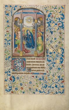 Pentecost; Willem Vrelant (Flemish, died 1481, active 1454 - 1481); Bruges, Belgium; early 1460s; Tempera colors, gold leaf, and ink on parchment; Leaf: 25.6 x 17.3 cm (10 1/16 x 6 13/16 in.); Ms. Ludwig IX 8, fol. 22; J. Paul Getty Museum, Los Angeles, California